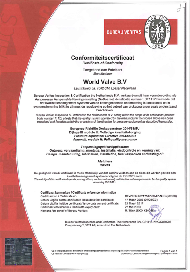 PED Certificate of Conformity - World Valve